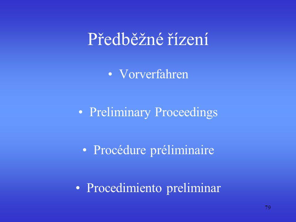 Předběžné řízení Vorverfahren Preliminary Proceedings