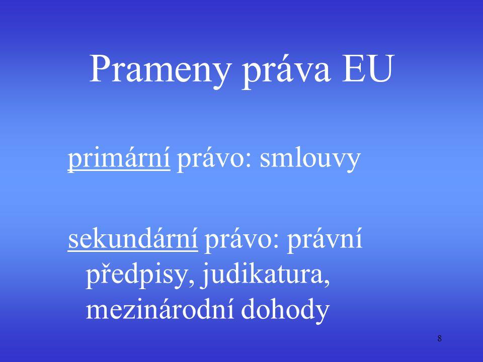 Prameny práva EU primární právo: smlouvy sekundární právo: právní předpisy, judikatura, mezinárodní dohody