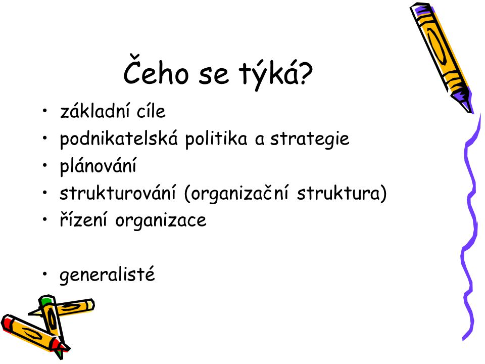 Čeho se týká základní cíle podnikatelská politika a strategie