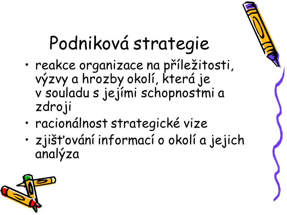 Podniková strategie reakce organizace na příležitosti, výzvy a hrozby okolí, která je v souladu s jejími schopnostmi a zdroji.