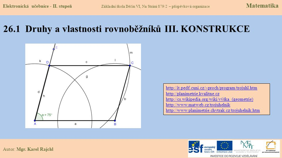 26.1 Druhy a vlastnosti rovnoběžníků III. KONSTRUKCE
