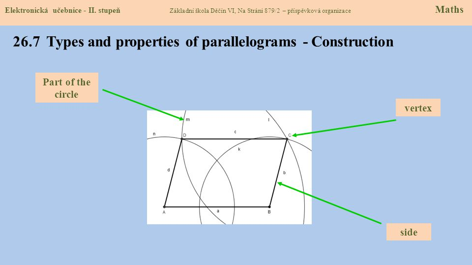 26.7 Types and properties of parallelograms - Construction