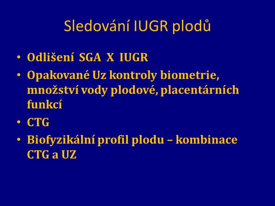 Sledování IUGR plodů Odlišení SGA X IUGR
