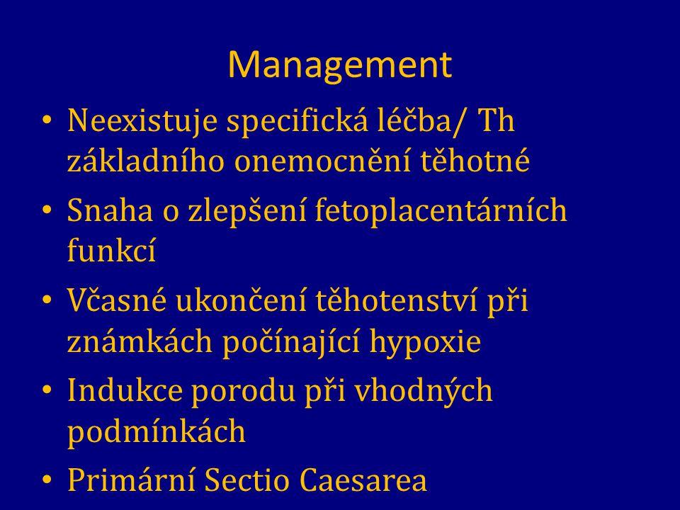 Management Neexistuje specifická léčba/ Th základního onemocnění těhotné. Snaha o zlepšení fetoplacentárních funkcí.