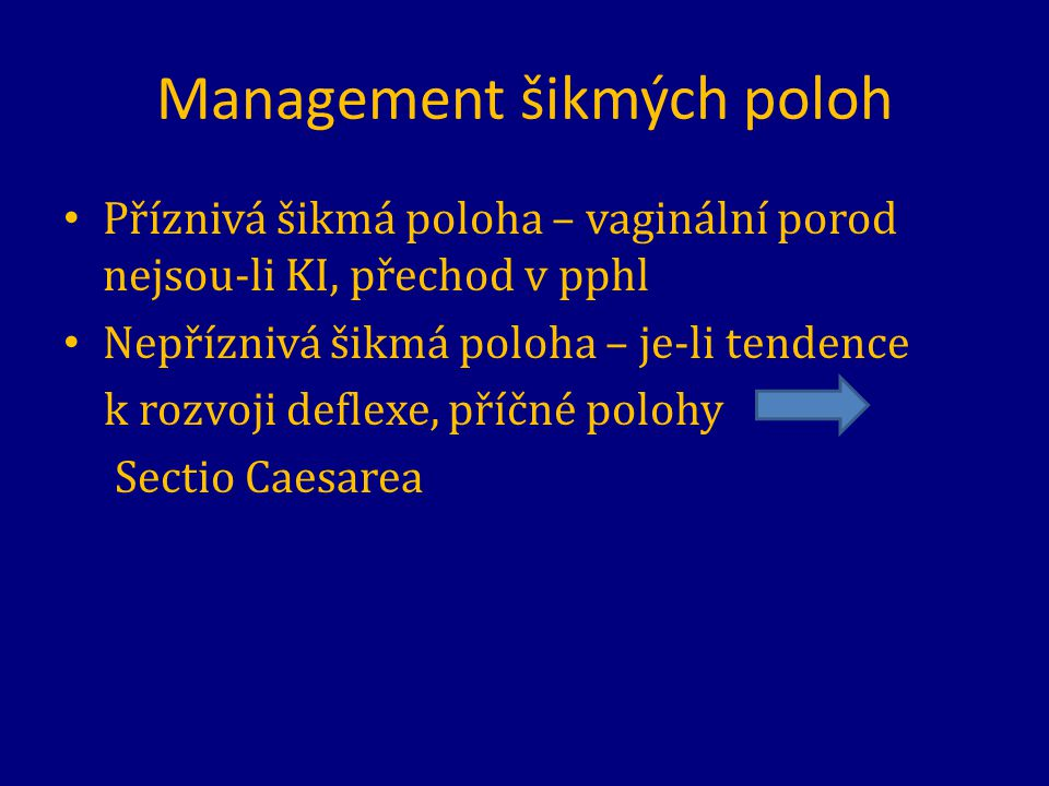 Management šikmých poloh