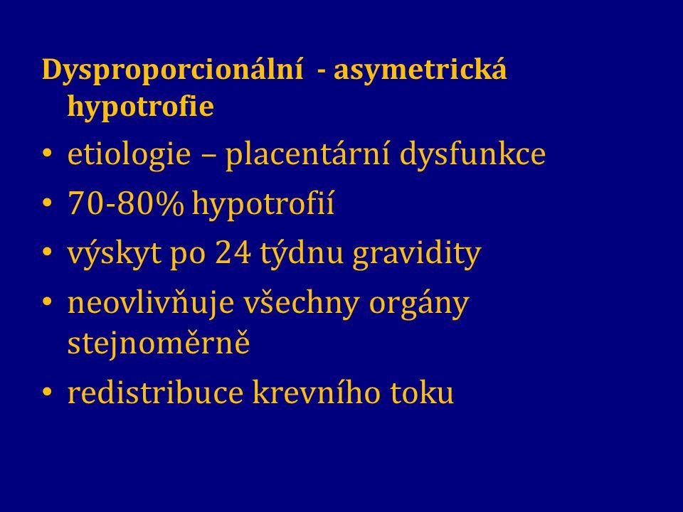 etiologie – placentární dysfunkce 70-80% hypotrofií