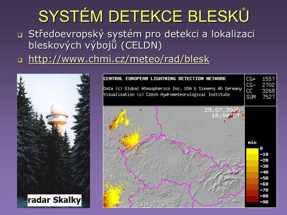 SYSTÉM DETEKCE BLESKŮ Středoevropský systém pro detekci a lokalizaci bleskových výbojů (CELDN) http://www.chmi.cz/meteo/rad/blesk.