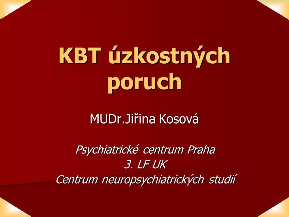 KBT úzkostných poruch MUDr.Jiřina Kosová Psychiatrické centrum Praha