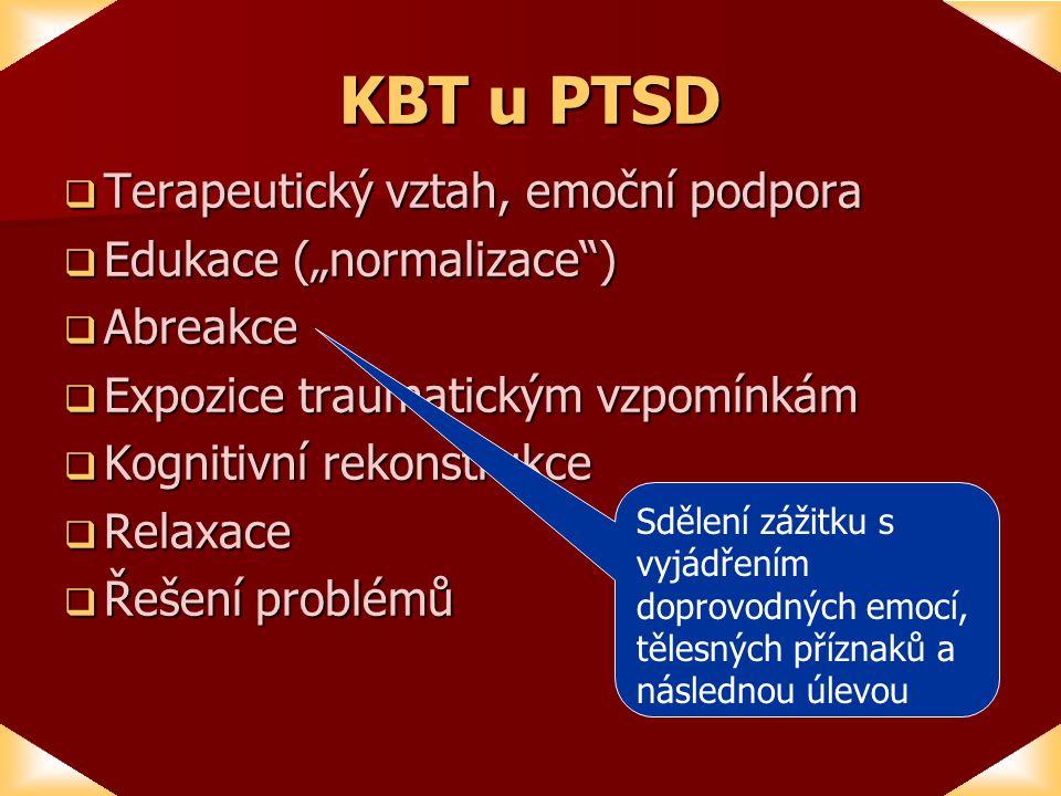 """KBT u PTSD Terapeutický vztah, emoční podpora Edukace (""""normalizace )"""