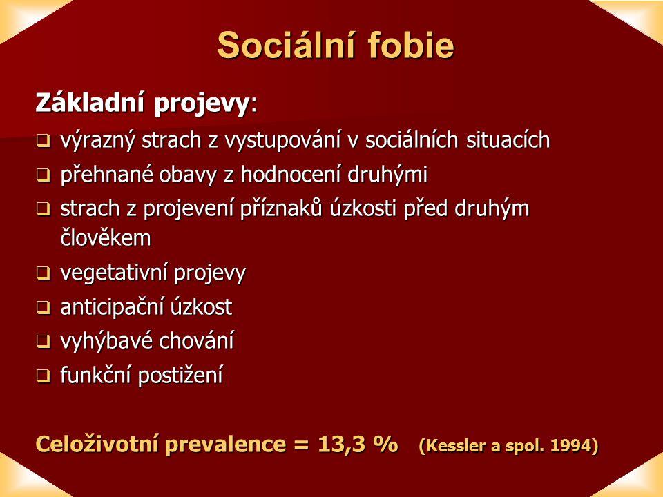Sociální fobie Základní projevy:
