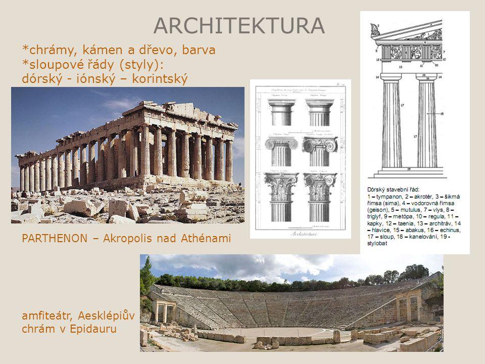 ARCHITEKTURA *chrámy, kámen a dřevo, barva *sloupové řády (styly):