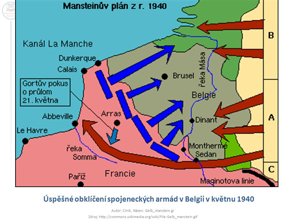 Úspěšné obklíčení spojeneckých armád v Belgii v květnu 1940