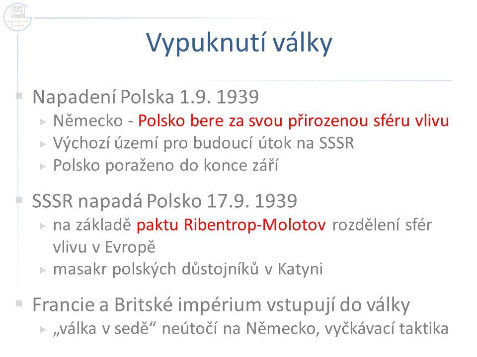 Vypuknutí války Napadení Polska 1.9. 1939