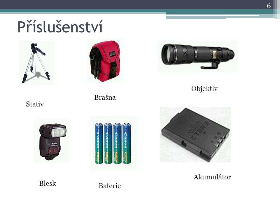 Příslušenství Objektiv Brašna Stativ Akumulátor Blesk Baterie