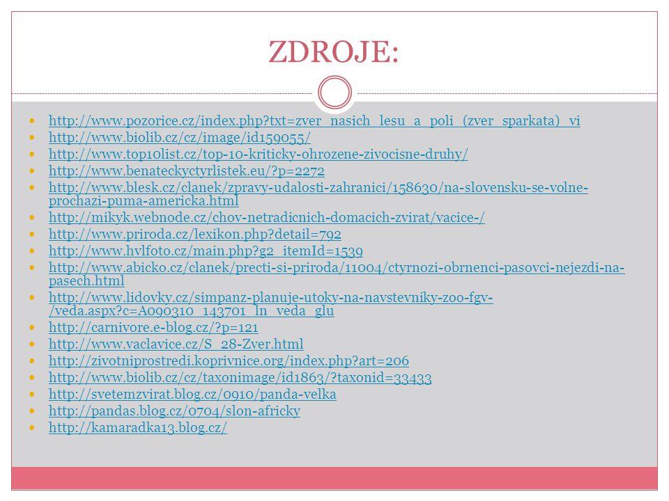 ZDROJE: http://www.pozorice.cz/index.php txt=zver_nasich_lesu_a_poli_(zver_sparkata)_vi. http://www.biolib.cz/cz/image/id159055/
