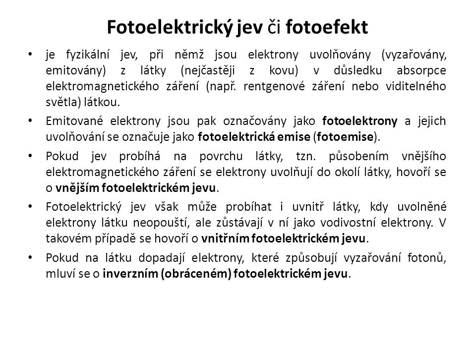 Fotoelektrický jev či fotoefekt
