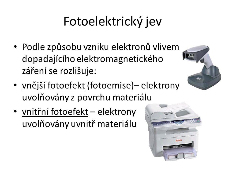 Fotoelektrický jev Podle způsobu vzniku elektronů vlivem dopadajícího elektromagnetického záření se rozlišuje:
