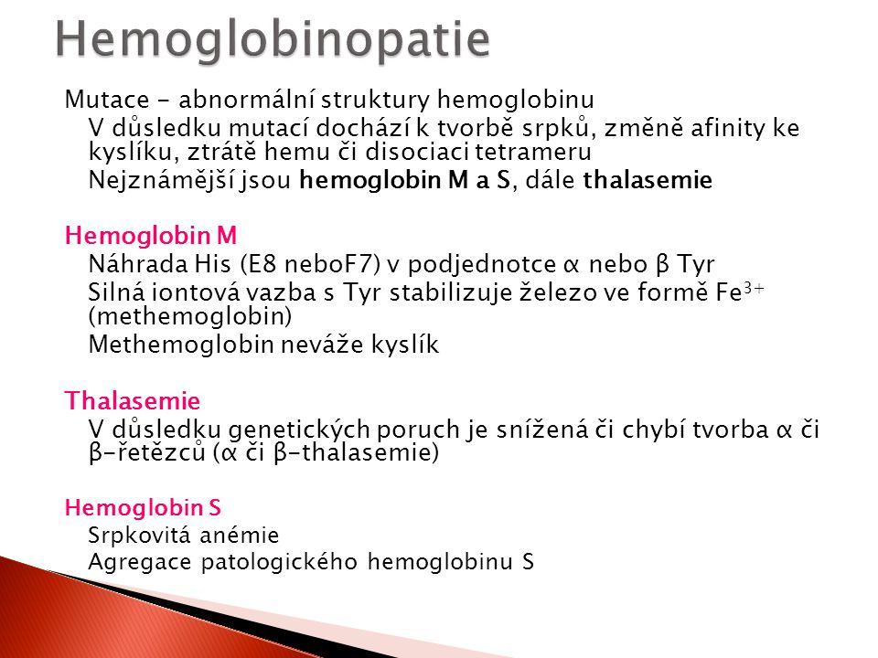 Hemoglobinopatie Mutace - abnormální struktury hemoglobinu