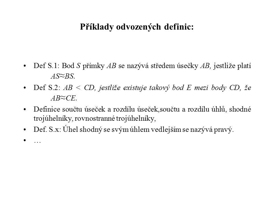 Příklady odvozených definic:
