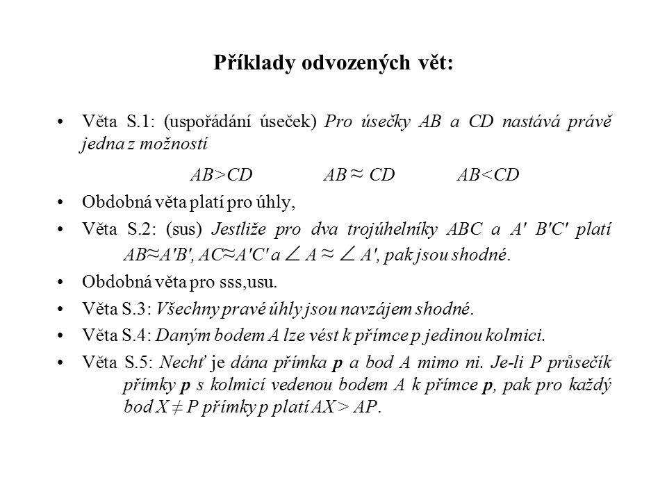 Příklady odvozených vět: