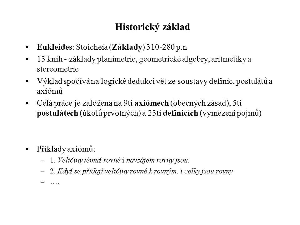 Historický základ Eukleides: Stoicheia (Základy) 310-280 p.n