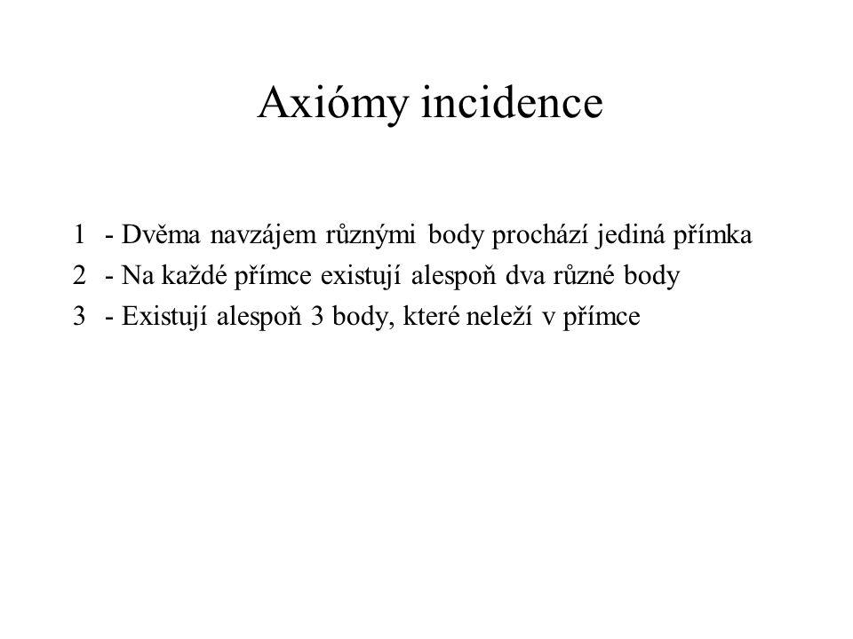 Axiómy incidence 1 - Dvěma navzájem různými body prochází jediná přímka. 2 - Na každé přímce existují alespoň dva různé body.