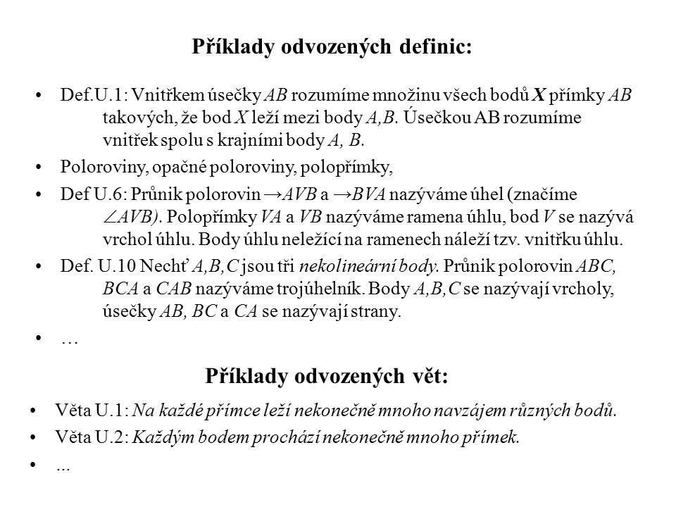 Příklady odvozených definic: Příklady odvozených vět: