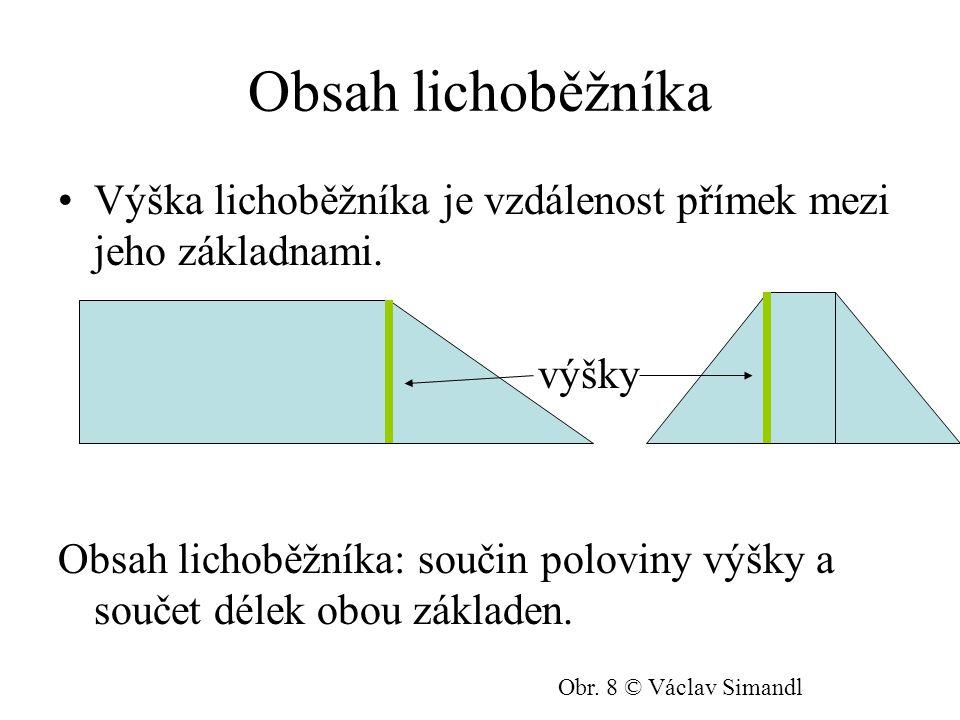 Obsah lichoběžníka Výška lichoběžníka je vzdálenost přímek mezi jeho základnami. výšky.
