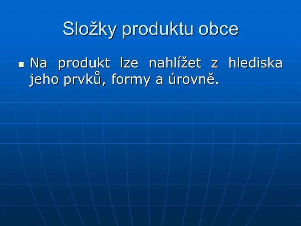 Složky produktu obce Na produkt lze nahlížet z hlediska jeho prvků, formy a úrovně.