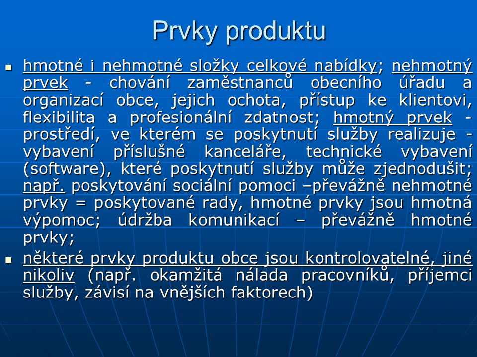 Prvky produktu