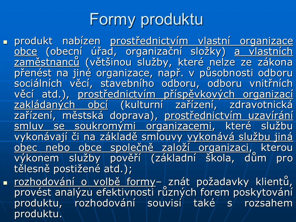 Formy produktu