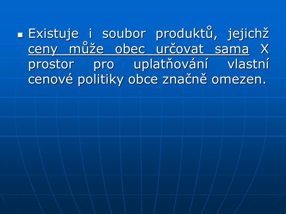 Existuje i soubor produktů, jejichž ceny může obec určovat sama X prostor pro uplatňování vlastní cenové politiky obce značně omezen.