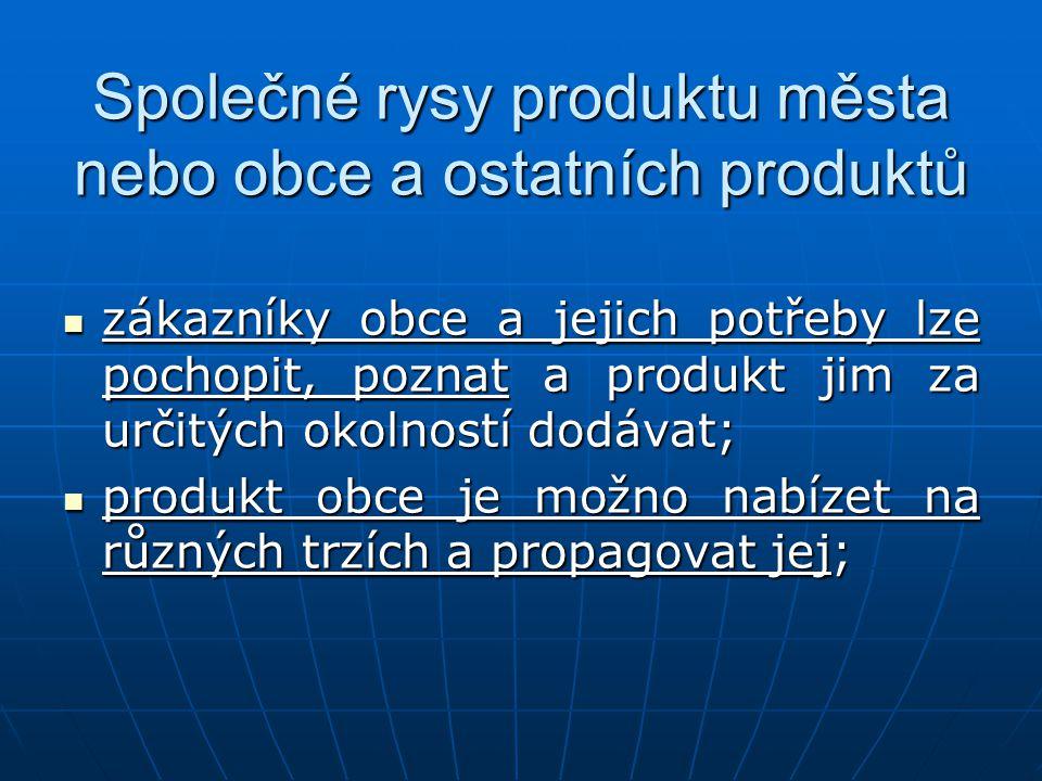 Společné rysy produktu města nebo obce a ostatních produktů