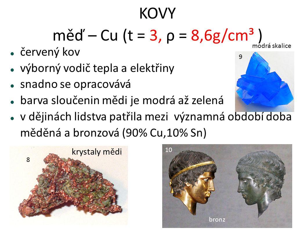 KOVY měď – Cu (t = 3, ρ = 8,6g/cm³ )