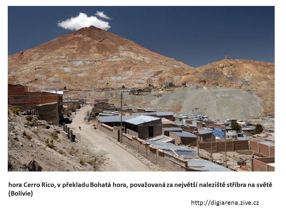 hora Cerro Rico, v překladu Bohatá hora, považovaná za největší naleziště stříbra na světě (Bolívie)