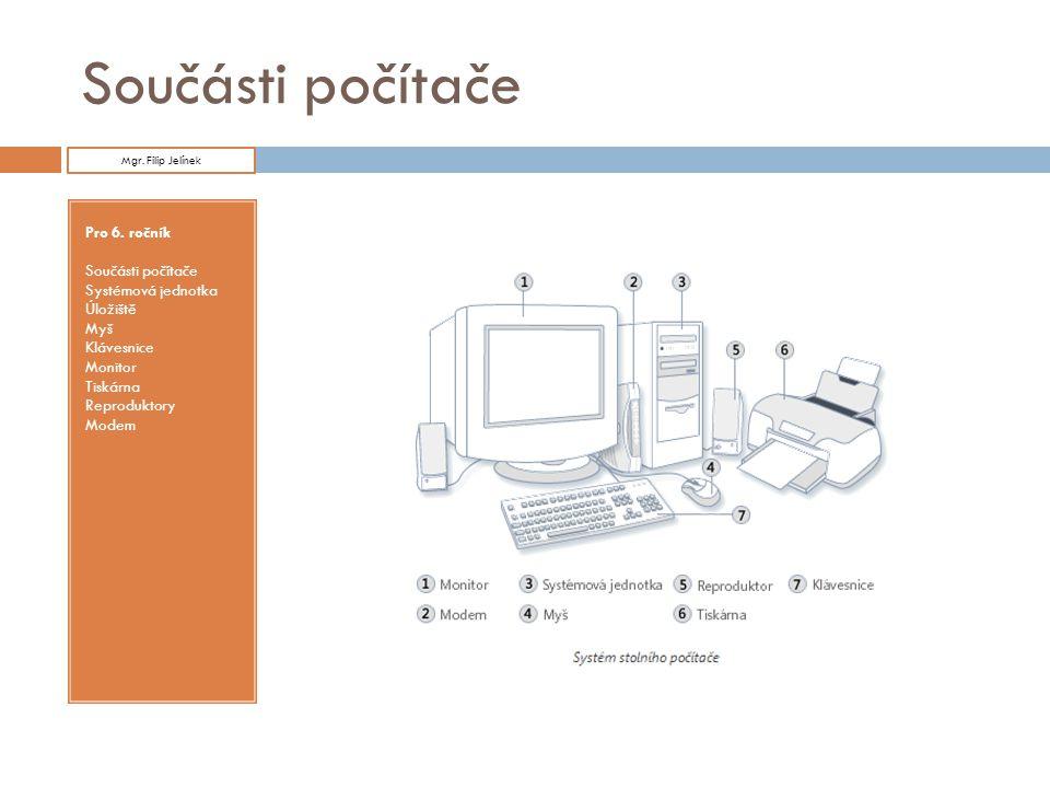 Součásti počítače Pro 6. ročník Součásti počítače Systémová jednotka
