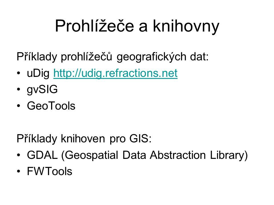 Prohlížeče a knihovny Příklady prohlížečů geografických dat: