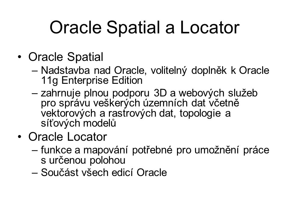 Oracle Spatial a Locator