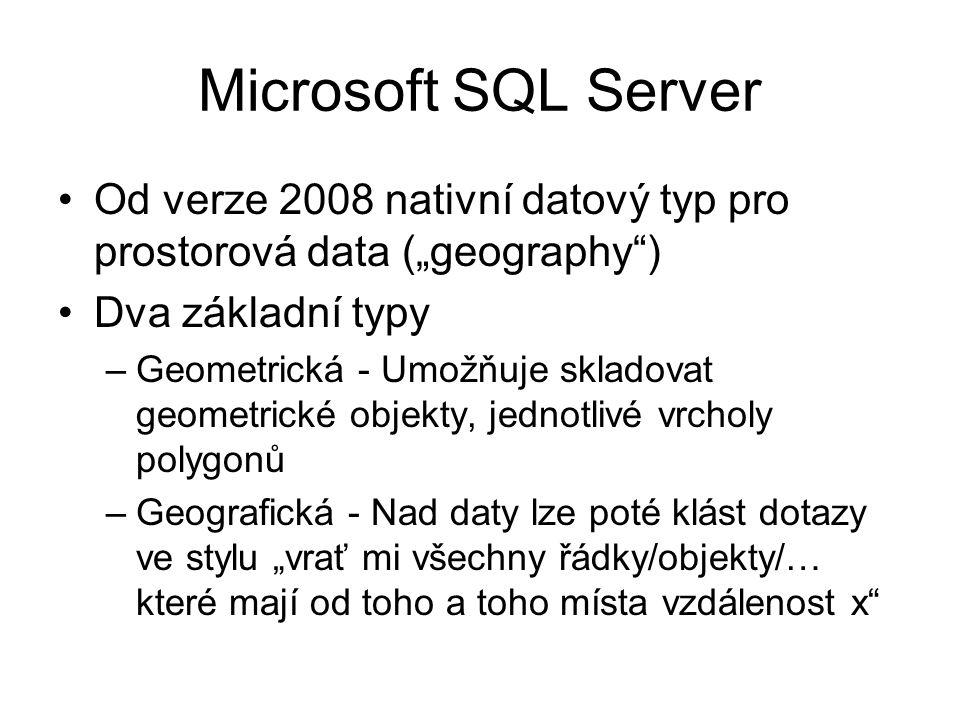 """Microsoft SQL Server Od verze 2008 nativní datový typ pro prostorová data (""""geography ) Dva základní typy."""