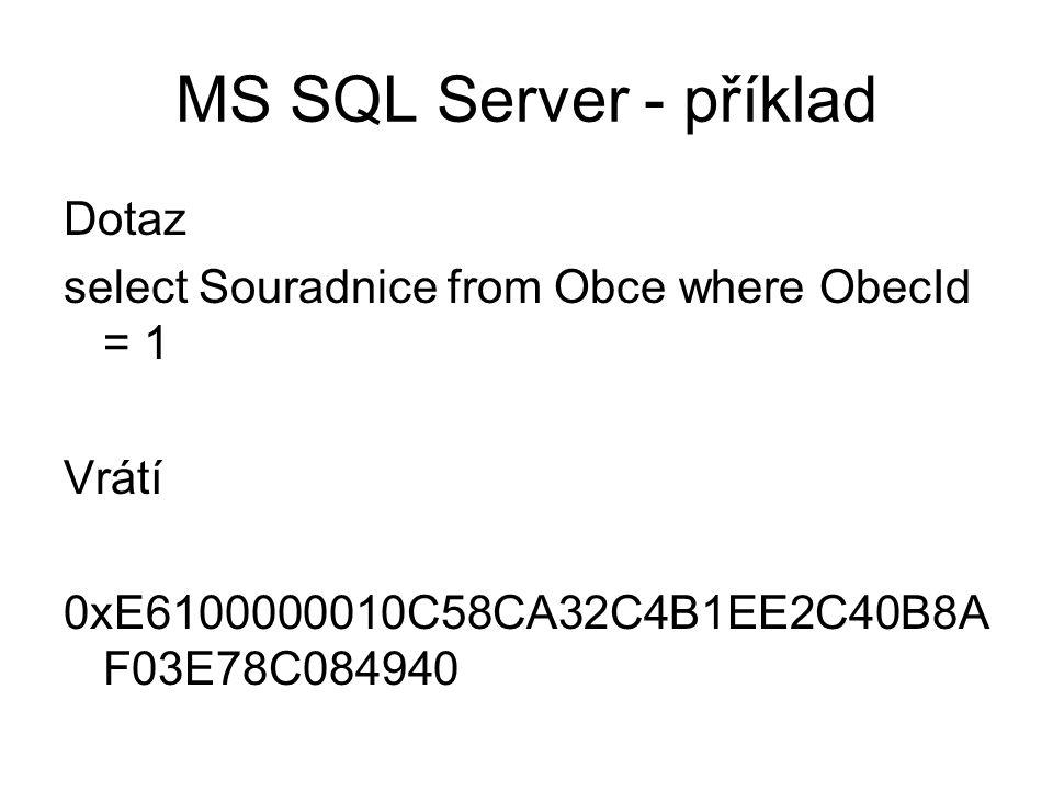 MS SQL Server - příklad Dotaz select Souradnice from Obce where ObecId = 1 Vrátí 0xE6100000010C58CA32C4B1EE2C40B8AF03E78C084940