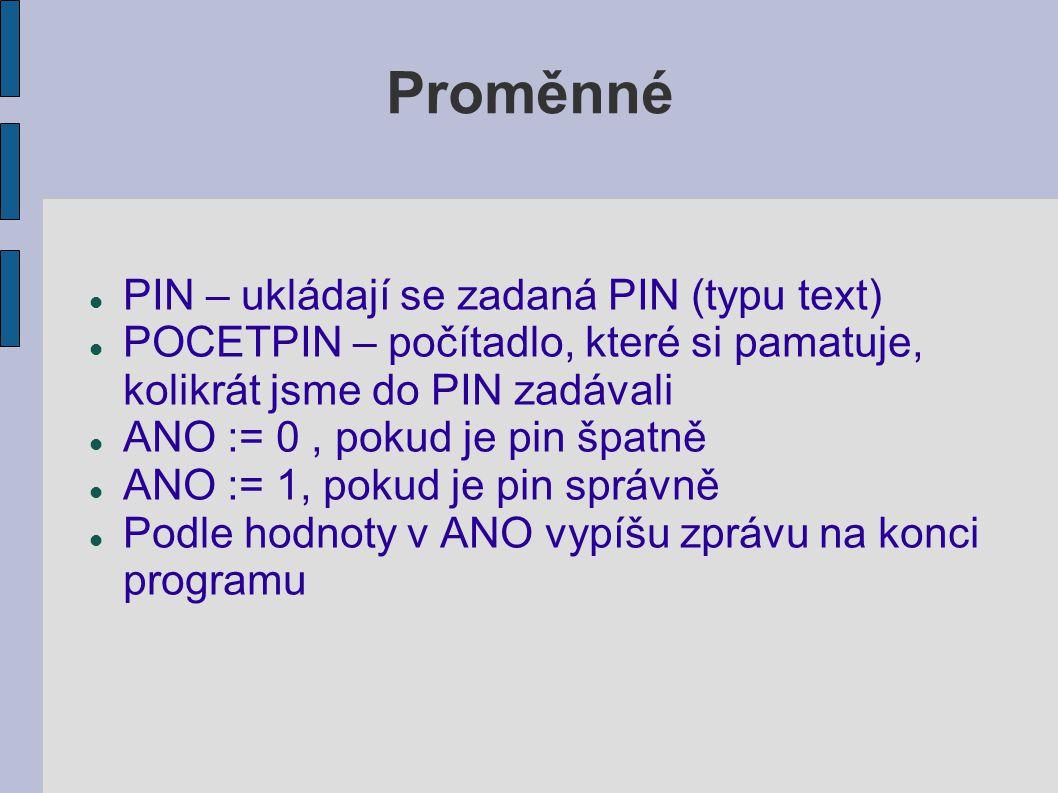 Proměnné PIN – ukládají se zadaná PIN (typu text)