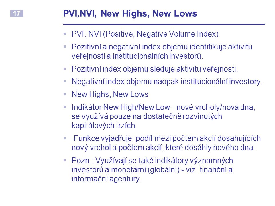 PVI,NVI, New Highs, New Lows