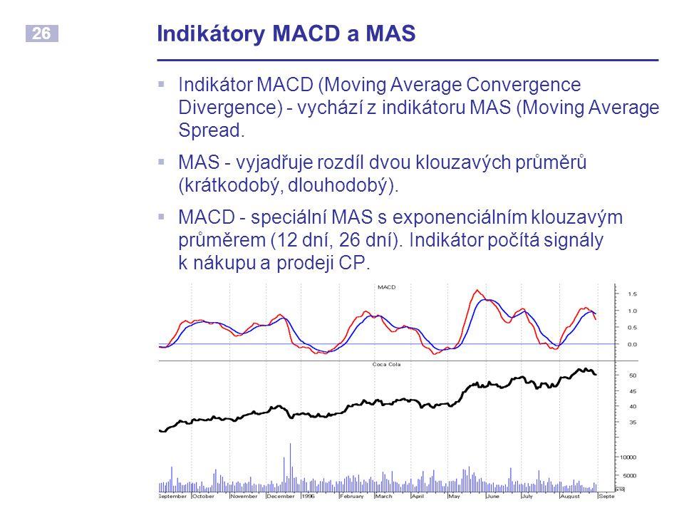 Indikátory MACD a MAS Indikátor MACD (Moving Average Convergence Divergence) - vychází z indikátoru MAS (Moving Average Spread.