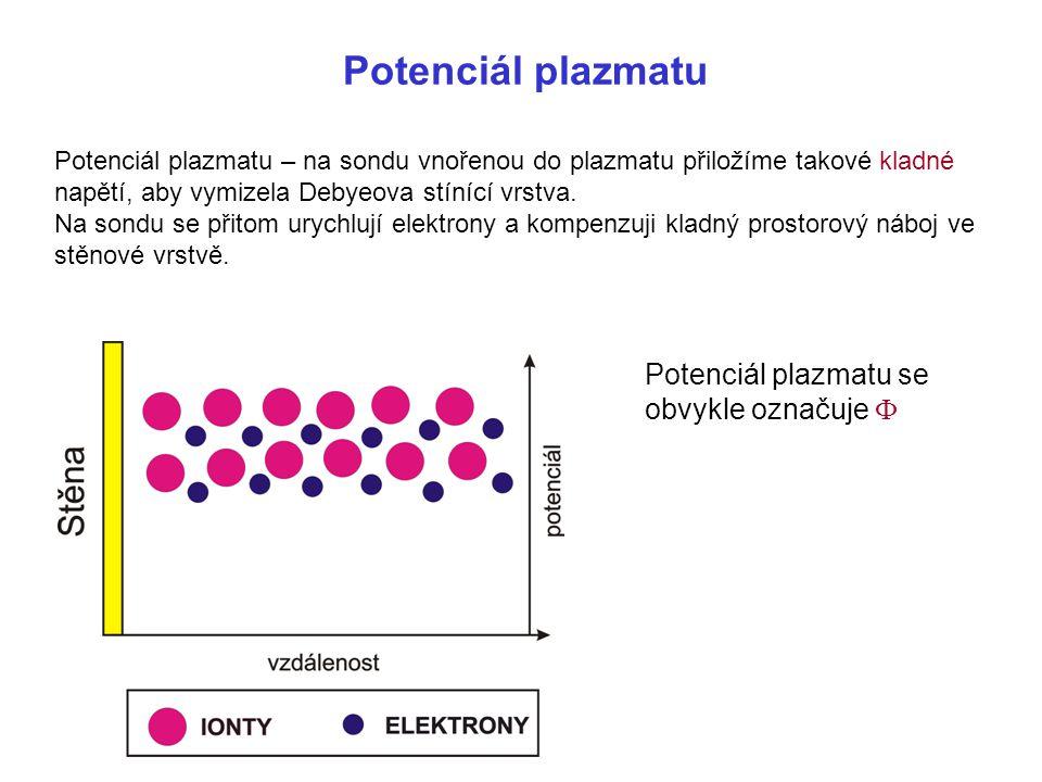 Potenciál plazmatu Potenciál plazmatu se obvykle označuje F