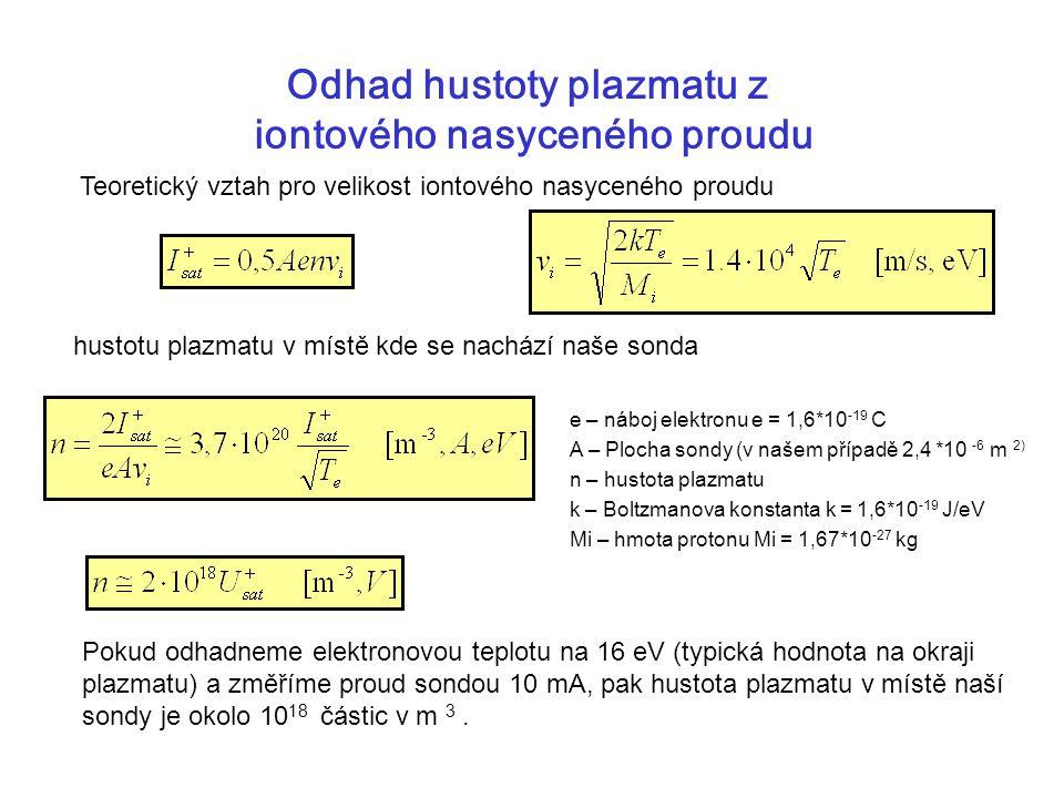 Odhad hustoty plazmatu z iontového nasyceného proudu