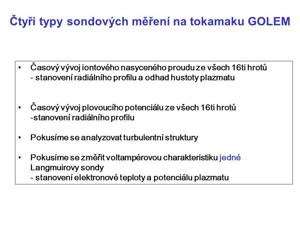 Čtyři typy sondových měření na tokamaku GOLEM
