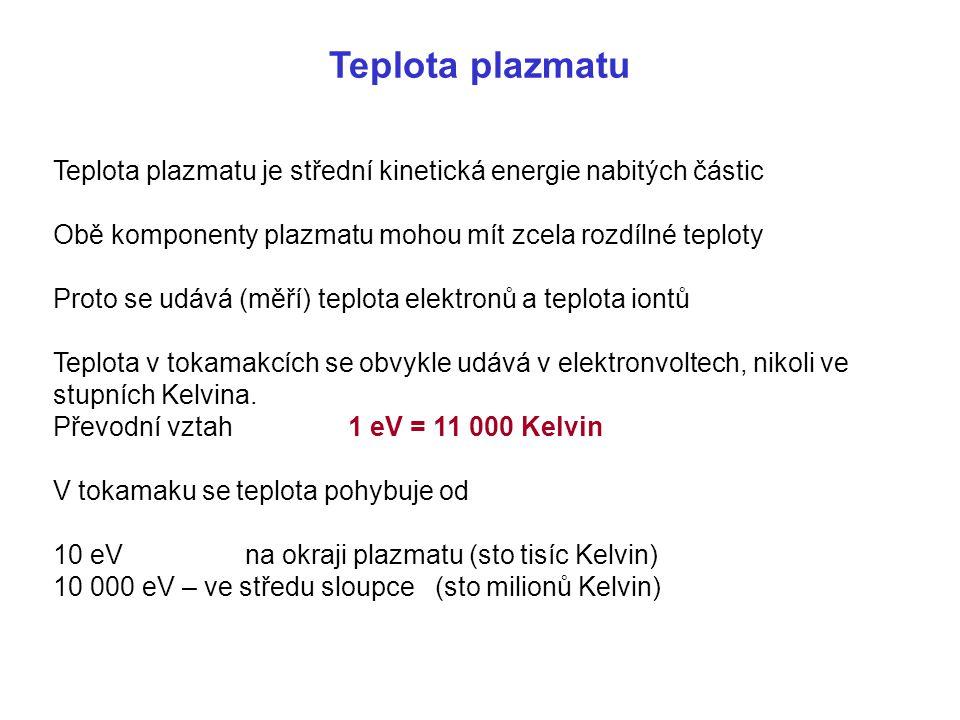 Teplota plazmatu Teplota plazmatu je střední kinetická energie nabitých částic. Obě komponenty plazmatu mohou mít zcela rozdílné teploty.