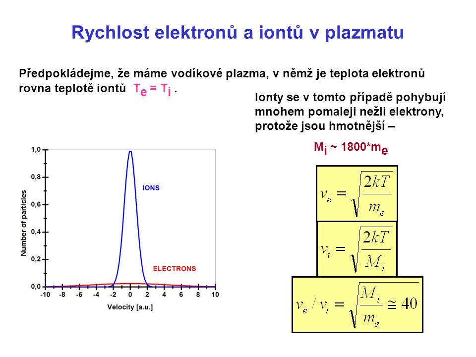 Rychlost elektronů a iontů v plazmatu