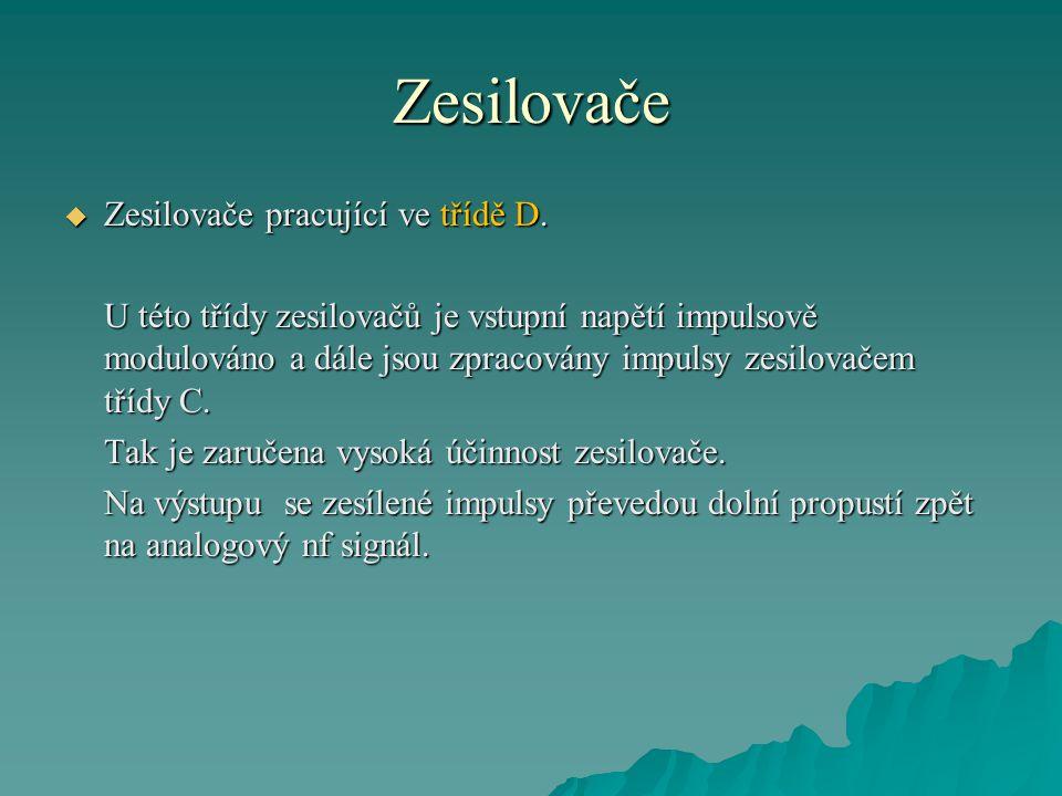 Zesilovače Zesilovače pracující ve třídě D.