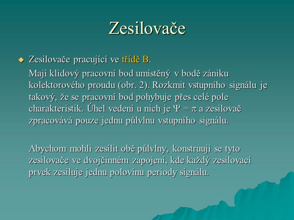 Zesilovače Zesilovače pracující ve třídě B.